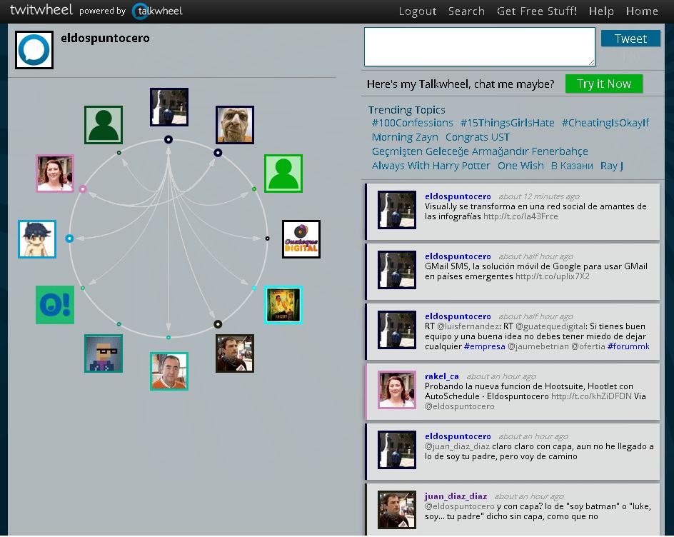 Twitwheel, visualiza las relaciones entre usuarios de Twitter a través de una rueda