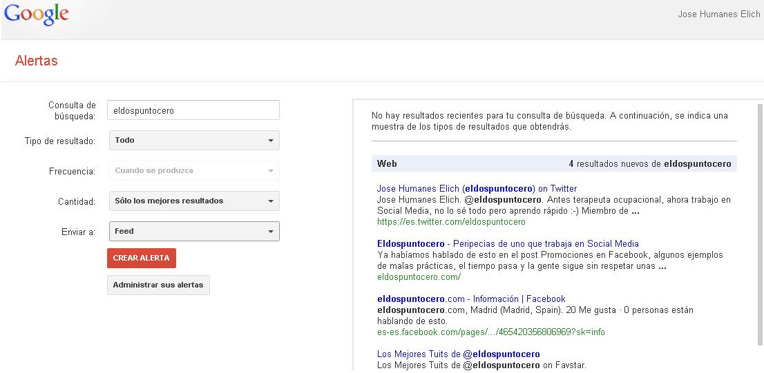 Herramientas de monitorización: Google Alerts