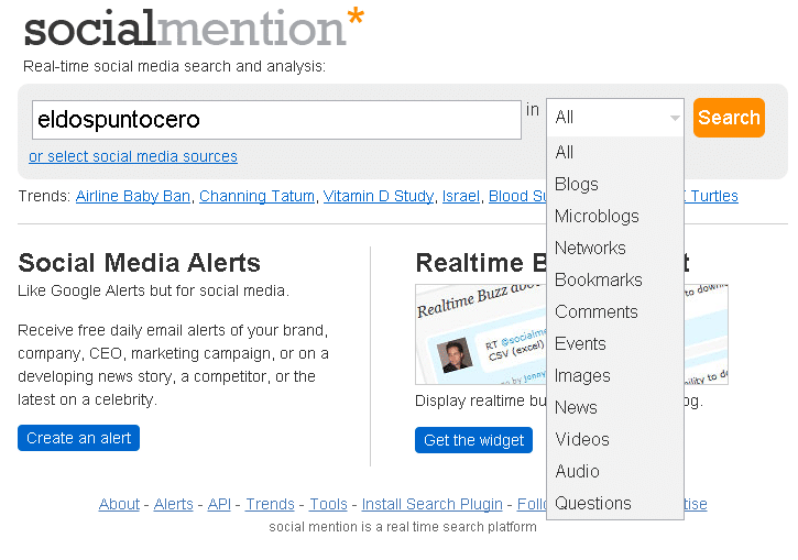 Herramientas de monitorizacion: Social Mention