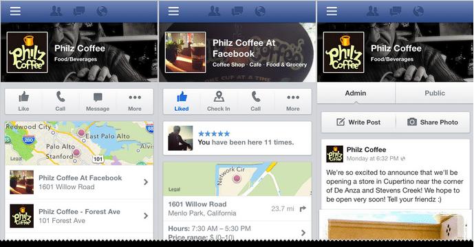 páginas de Facebook en dispositivos móviles